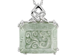 Green Jadeite Sterling Silver Pendant