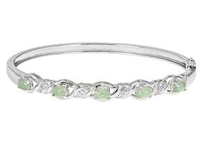 Green Jadeite Sterling Silver Bracelet .05ctw