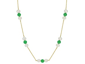 Green Jadeite 14K Yellow Gold Over Sterling Silver Necklace.