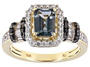 Gray Platinum Color Spinel 10k Yellow Gold Ring 1.78ctw