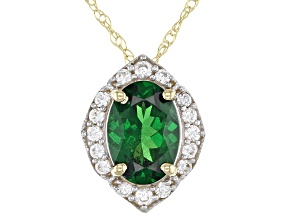 Green Tsavorite 10k Yellow Gold Slide/Pendant With Chain .93ctw