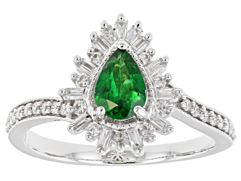 Green Tsavorite Rhodium Over 10k White Gold Ring 1.08ctw