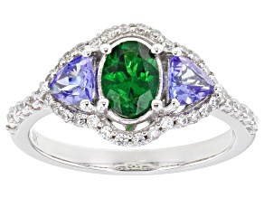 Green Tsavorite Rhodium Over 10k White Gold Ring 1.76ctw