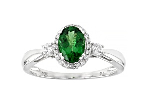 Green Tsavorite Rhodium Over 10k White Gold Ring 1.02ctw