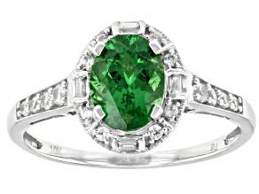 Green Tsavorite Rhodium Over 10k White Gold Ring 1.34ctw