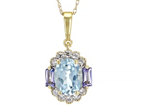 Blue Aquamarine 10k Yellow Gold Pendant With Chain 1.48ctw