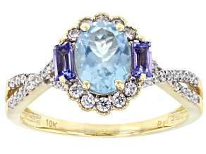 Blue Aquamarine 10k Yellow Gold Ring 1.58ctw
