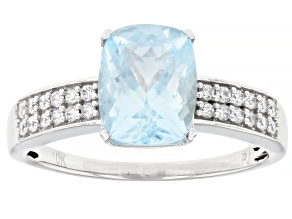 Blue Aquamarine Rhodium Over 10k White Gold Ring 2.22ctw
