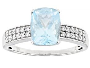 Blue Aquamarine Rhodium Over 10k White Gold Ring 2.22ctw