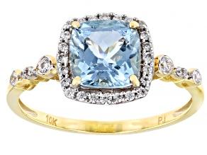 Blue Aquamarine 10k Yellow Gold Ring 1.78ctw