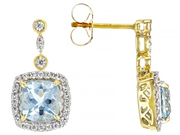 Picture of Blue Aquamarine 10k Yellow Gold Earrings 2.16ctw