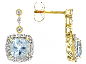 Blue Aquamarine 10k Yellow Gold Earrings 2.16ctw