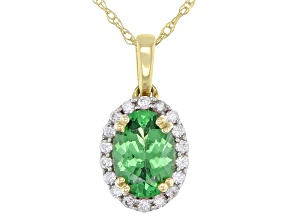 Green Tsavorite 10k Yellow Gold Pendant With Chain  .69ctw