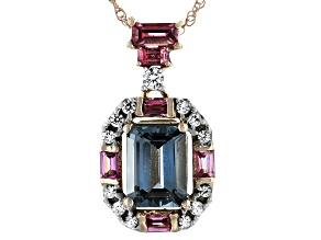 Platinum Color Spinel 10k Rose Gold Pendant With Chain 1.52ctw