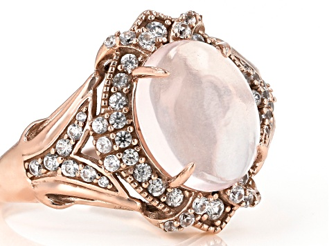 Pink Rose Quartz 10k Rose Gold Ring 0.54ctw