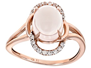 Pink Rose Quartz 10k Rose Gold Ring 0.18ctw
