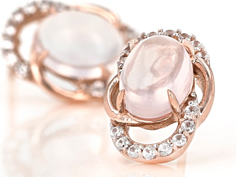 Pink Rose Quartz 10k Rose Gold Earrings 0.29ctw
