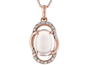 Pink Rose Quartz 10k Rose Gold Pendant With Chain 0.18ctw