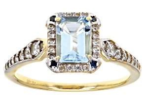 Blue Aquamarine 10k Yellow Gold Ring 1.03ctw
