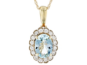 Blue Aquamarine 10k Yellow Gold Pendant With Chain 0.84ctw