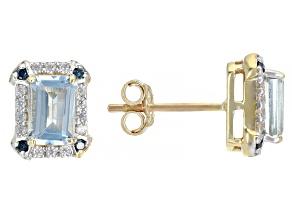 Blue Aquamarine 10k Yellow Gold Earrings 1.15ctw