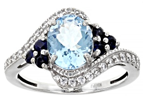 Blue Aquamarine Rhodium Over 10k White Gold Ring 2.16ctw