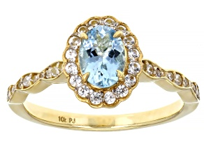 Blue Aquamarine 10k Yellow Gold Ring 0.91ctw