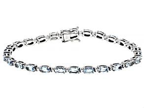 Blue Aquamarine Rhodium Over 10k White Gold Bracelet 4.60ctw