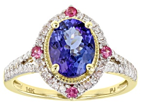 Oval Tanzanite With White Diamond And Pink Spinel 14k Yellow Gold Ring 2.19ctw.