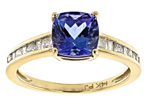 Blue Tanzanite 14k Yellow Gold Ring