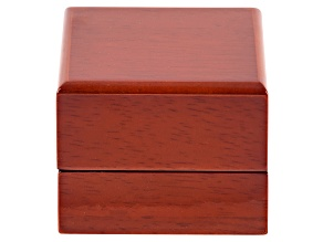 Wooden Presentation Ring Box with White Faux Leather Lining