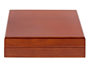 Wooden Presentation Large Necklace Box with White Faux Leather Lining