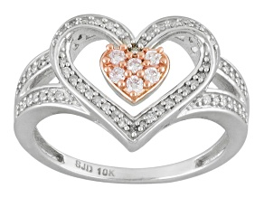 Pink And White Diamond 10k White Gold Ring .25ctw