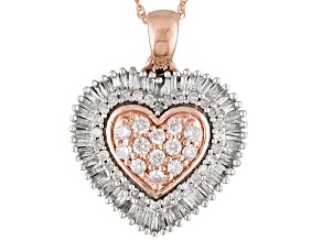 Pink And White Diamond 10k Rose Gold Pendant .50ctw