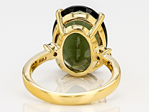 Green moldavite 18k yellow gold over silver ring 5.98ctw