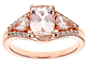 Pink morganite 18k rose gold over silver ring 1.71ctw