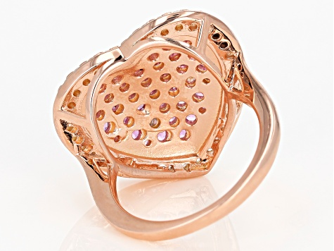 Pink lab created sapphire 18k gold over silver ring 2.67ctw