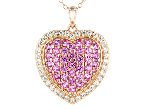 Pink lab created sapphire 18k gold over silver pendant with chain 2.67ctw