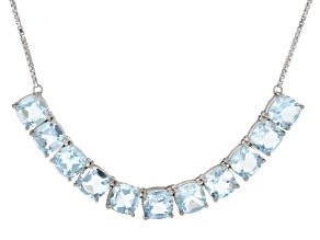 Sky Blue Topaz Rhodium Over Silver Necklace 22.00ctw
