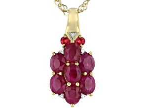 Red ruby 18k gold over silver pendant with chain 1.59ctw
