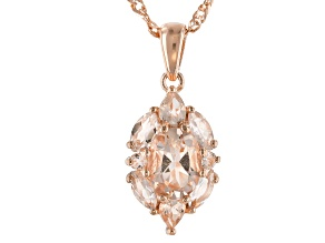 Pink morganite 18k rose gold over silver pendant with chain 1.66ctw