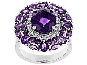 Purple amethyst rhodium over silver ring 5.43ctw