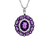 Purple amethyst rhodium over silver pendant with chain 5.35ctw