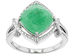 Green chrysoprase rhodium over silver solitaire ring