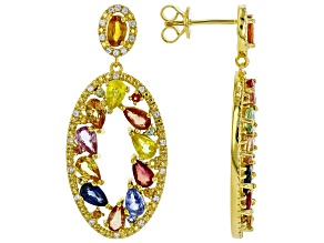 Mixed-color sapphire 18k gold over silver earrings 6.37ctw