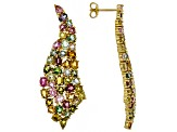 Multi-color tourmaline 18k yellow gold over sterling silver earrings 9.80ctw