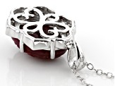 Red ruby rhodium over silver pendant with chain 5.87ctw