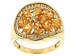 Orange spessartite garnet 18k gold over silver ring 2.29ctw