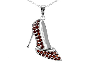Red Garnet sterling silver high heel pendant with chain 1.75ctw
