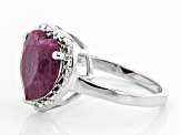 Red India ruby rhodium over silver ring 2.95ct